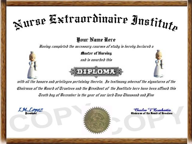 professional diplomas nurse diploma