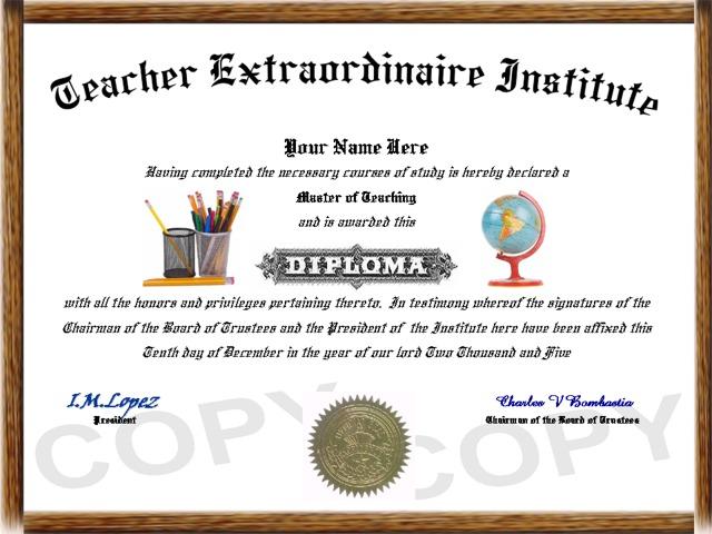 professional diplomas teacher diploma