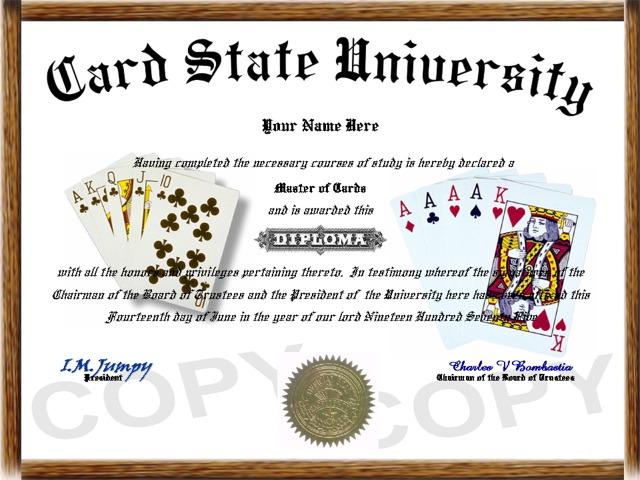 gambling diploma card game diploma