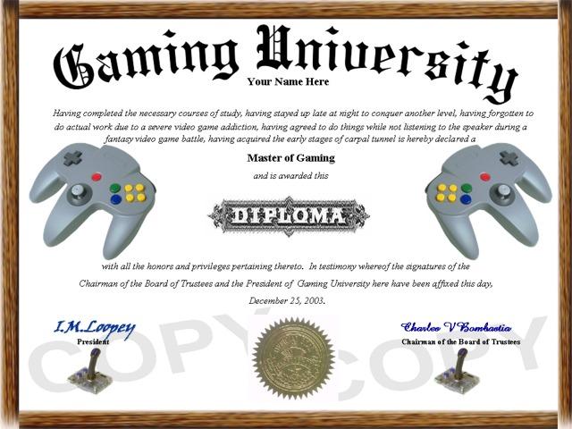hobby diploma gaming diploma