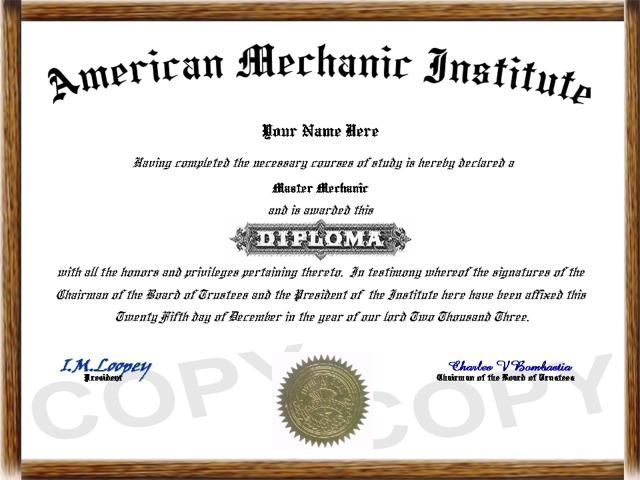 Aircraft Mechanic Diploma